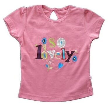 A&S Girls Pretty Embroidered T-shirt - Light Peach