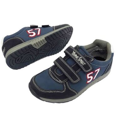 Boy's Velcro Trainers - Blue & Grey