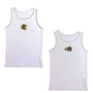 Character Top/Vests For Boys-2 Vest Per Pack