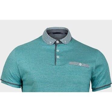 Aqua Contrast Neck and Pocket Designer Tee Shirt