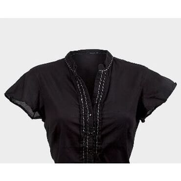 M&S Ladies Frill Hem All Beaded Front Top - Black