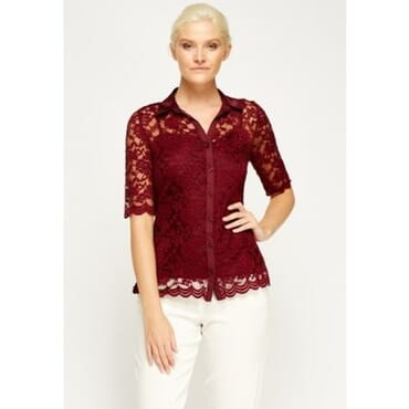 Lace Blouse & Top Set - Red