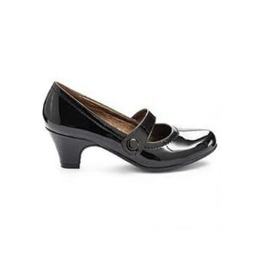 Krush Low Heel Patent Office Court Shoes - Black