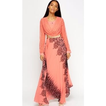 Lace Drape Chiffon Maxi Dress-Peach