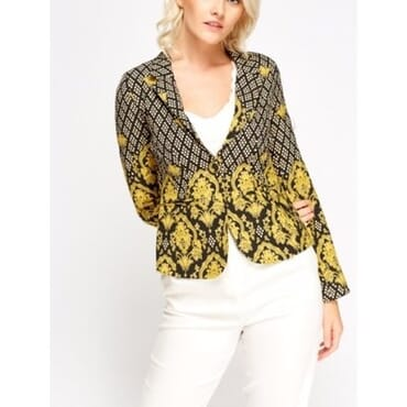 Mixed Flowery Print Blazer - Yellow
