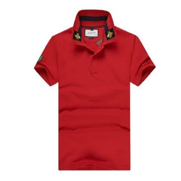 Cotton ,polo, with tiger embroidery-Red