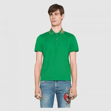 Cotton ,polo, with tiger embroidery-Green