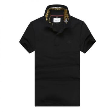 Cotton ,polo, with tiger embroidery-Black