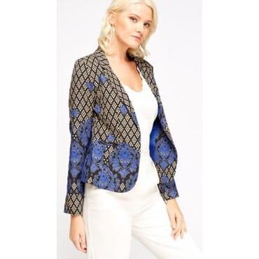 Mixed Print Blazer - Blue Multicolour