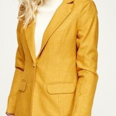 Metallic Insert Lapel Blazer - Gold