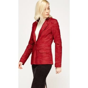 Metallic Insert Lapel Blazer - Red