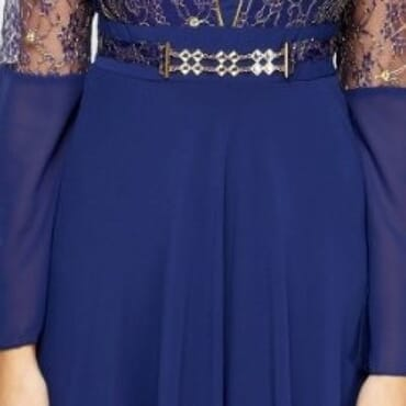 Embroidered Lace Contrast Maxi Dress - Navy Blue