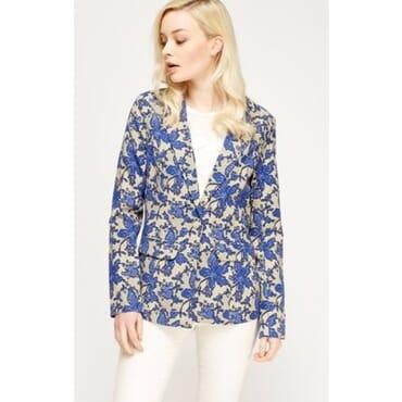Floral Print Blazer - Blue Multicolour
