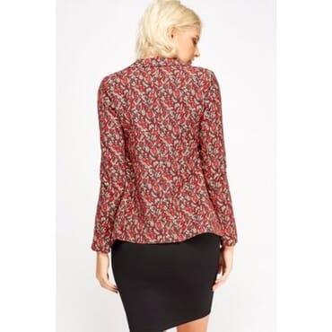 Kaktus Moda Floral Print Blazer - Red