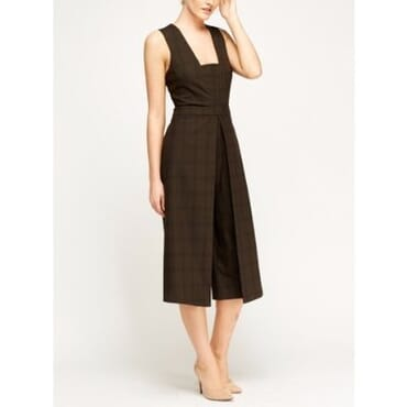 Formal Check Grid Cape Jumpsuit- Brown