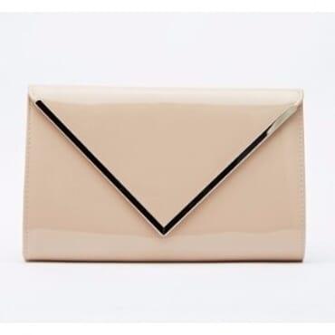 Mays Metallic Trim Envelope Clutch Bag - Nude