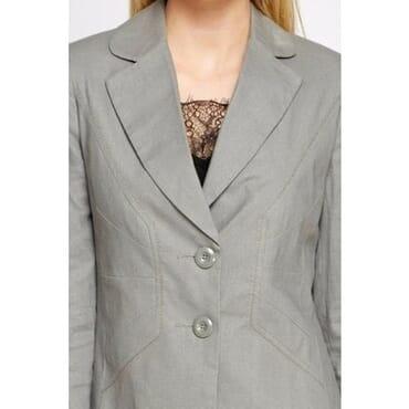 COLLECTION Twin Button Linen Blend Blazer - Grey