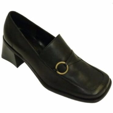 Ladies' Leather Comfortable Work Shoes - Black