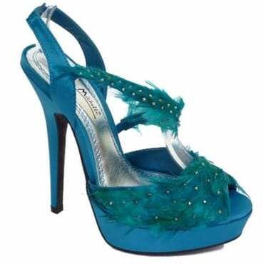 Anne Michelle Ladies Feather High Heels Sandals - Turquoise Blue