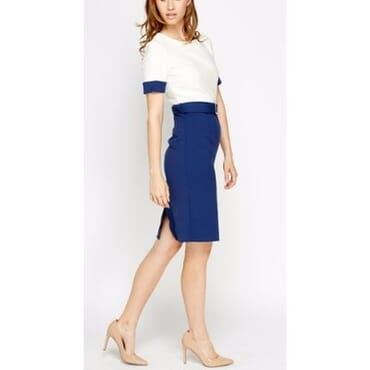 Collection London Two Tone Office Dress with Buckle Belt - Cream & Blue