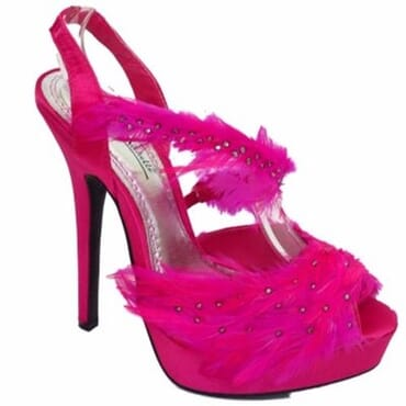 Anne Michelle Ladies Feather High Heels Sandals - Pink