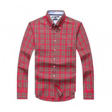 Tommy Hilfiger Mens Patterned Shirt-Red