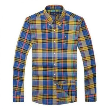 Ralph Lauren Checkered- Blue, Yellow & Black, Longsleeve Shirt