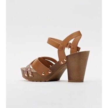 Sergio Glittered Front Strap Block Heel Sandals