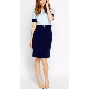 Collection London Two Tone Smart Office Dress with Buckle Belt-Sky Blue & Navy