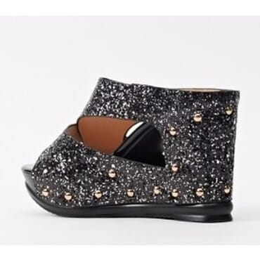 Sergio Glitter Stud Wedge Slippers - Black
