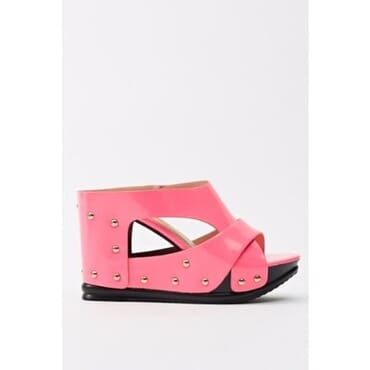 Sergio PU Leather Studded Wedge Slippers - Pink