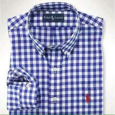 PRL Bold gingham checkers ROYAL-BLUE ,longsleeve shirt,