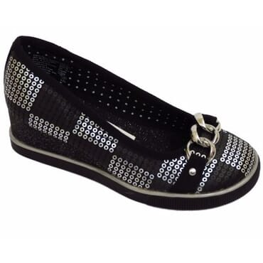 Smart Fit Girls Sequin Slip-On Wedge Front Buckle Shoe-Black