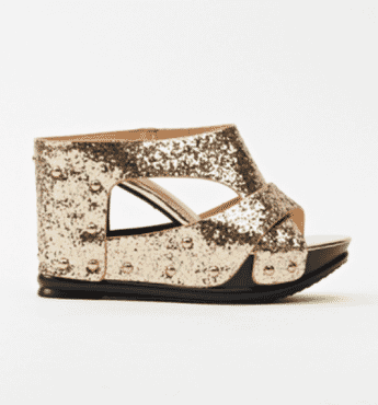 Sergio Glitter Stud Wedge Slippers - Gold