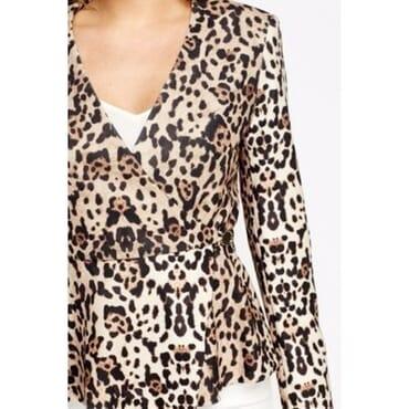 Leopard Print Peplum Hem Blazer