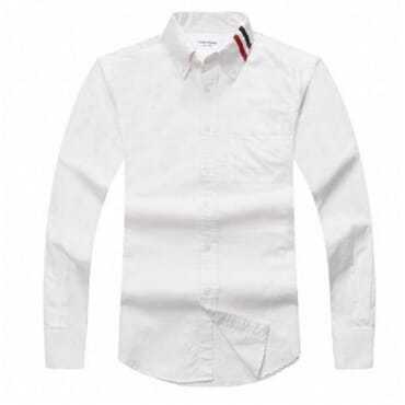 LONG SLEEVE WITH GROSGRAIN ARMBANDS IN WHITE OXFORD II,Mens Shirt,