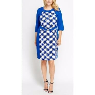 Mays Mono Check Contrast Midi Dress