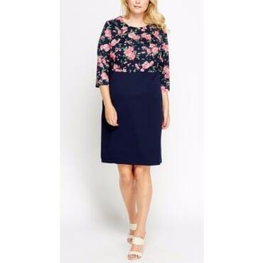 Mays Bodice Floral Dress - Navy