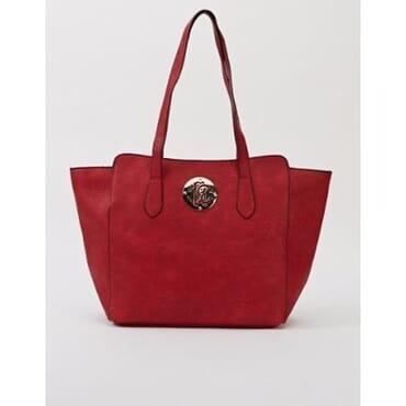 Metallic Detail Winged Large Handbag -Red