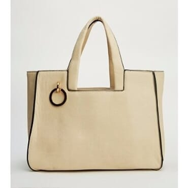 Metallic Circle Embellished Tote Bag - Cream