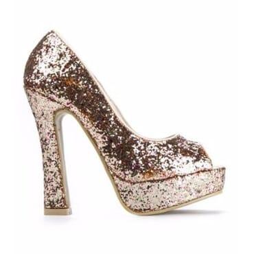 Sergio Fuschia Pink Glitter Peep Toe Heels