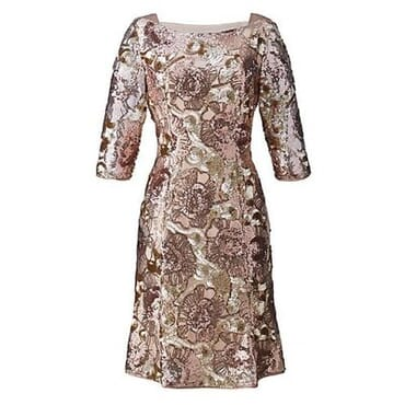 Nightingales Sequin Midi Dress - Rose Gold