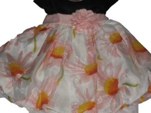 Girls Peach Floral Print Bubble Hem Dress