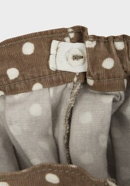 M&S Chainstore Girls Corduroy Polka-dot Pleated Skirt - Brown