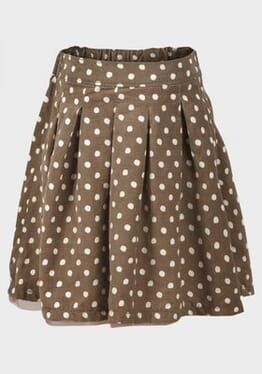 M&S Chainstore Girls Corduroy Polka-dot Pleated Skirt - Brown