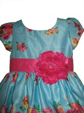 KCL Floral Satin Party Dress - Sky Blue
