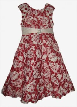 TIA Floral Lace Girls Xmas Party Dress - Red & Cream