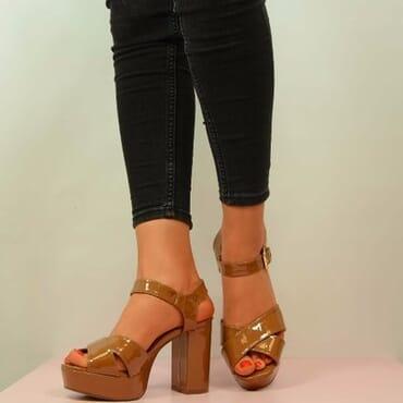 Patent Block Heel Platform Sandals - Tan