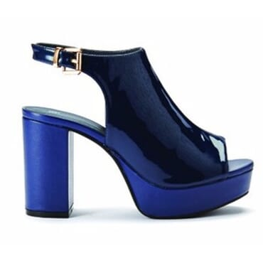 Women's Sling Back Peep Toe Platform Heels - Navy Blue