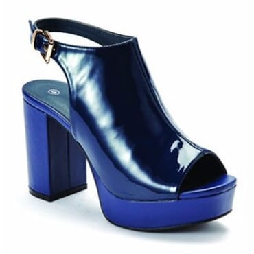 Women's Sling Back Peep Toe Platform Heels - Navy Blue